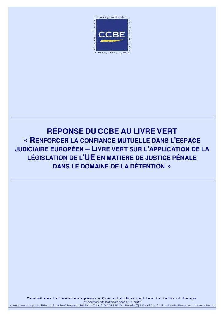 Réponse du CCBE au livre vert