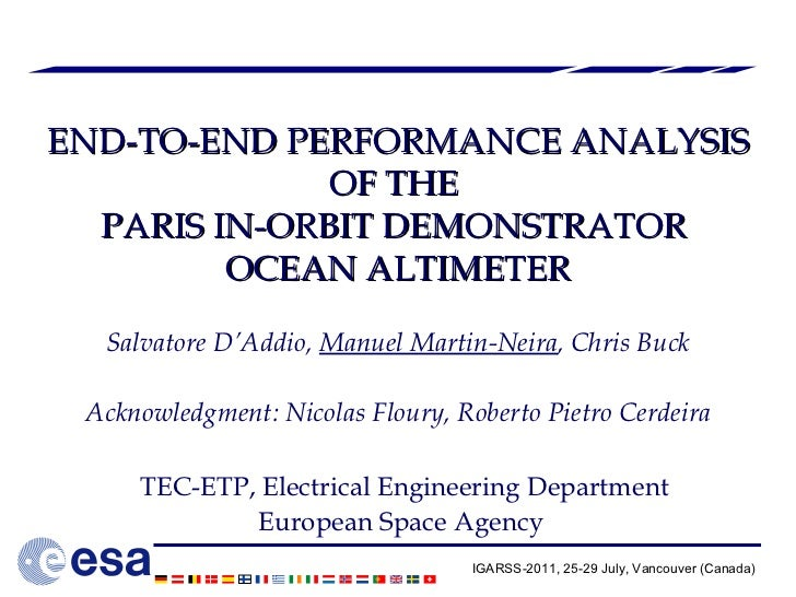 END-TO-END PERFORMANCE ANALYSIS OF THE  PARIS IN-ORBIT DEMONSTRATOR  OCEAN ALTIMETER Salvatore D'Addio,  Manuel Martin-Nei...