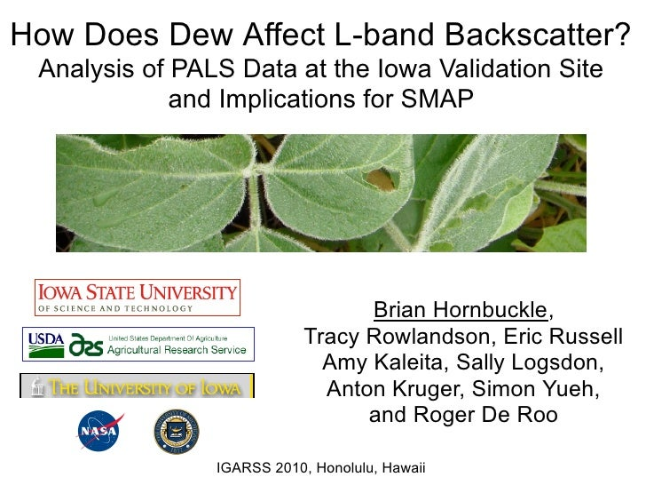 How Does Dew Affect L-band Backscatter?  Analysis of PALS Data at the Iowa Validation Site              and Implications f...