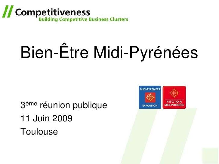 Bien-Être Midi-Pyrénées   3ème réunion publique 11 Juin 2009 Toulouse