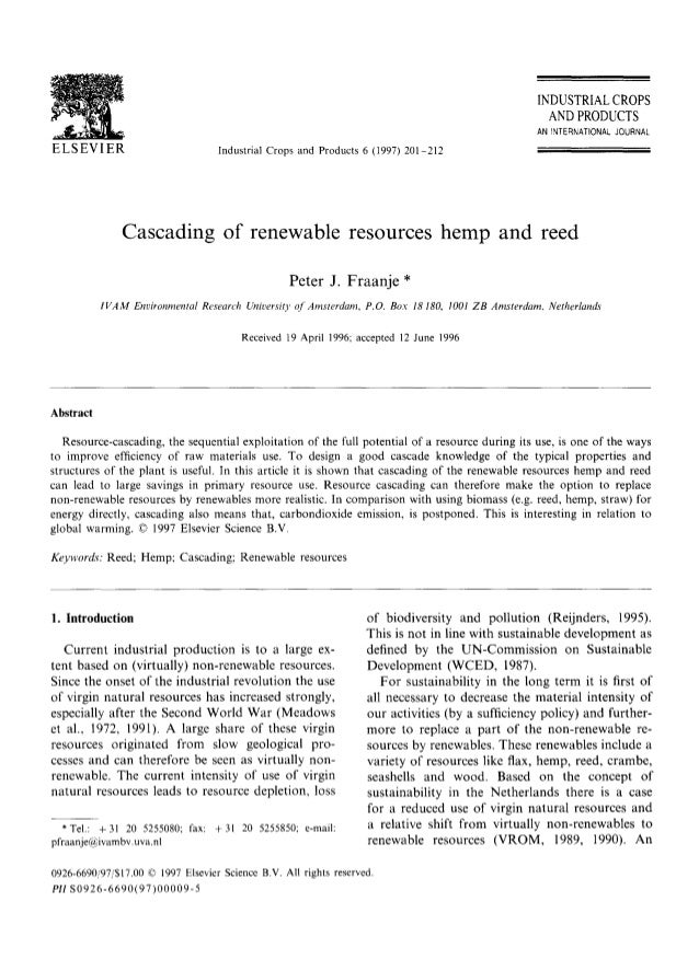 Fraanje (1997)   Cascading of Renewable Resources Hemp and Reed