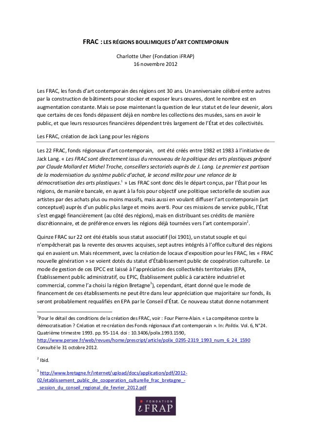 FRAC : LES RÉGIONS BOULIMIQUES D'ART CONTEMPORAIN                                      Charlotte Uher (Fondation iFRAP)   ...