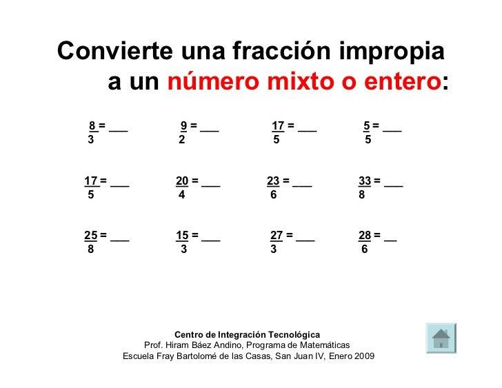 Fracción propia, número mixto y fracción impropia