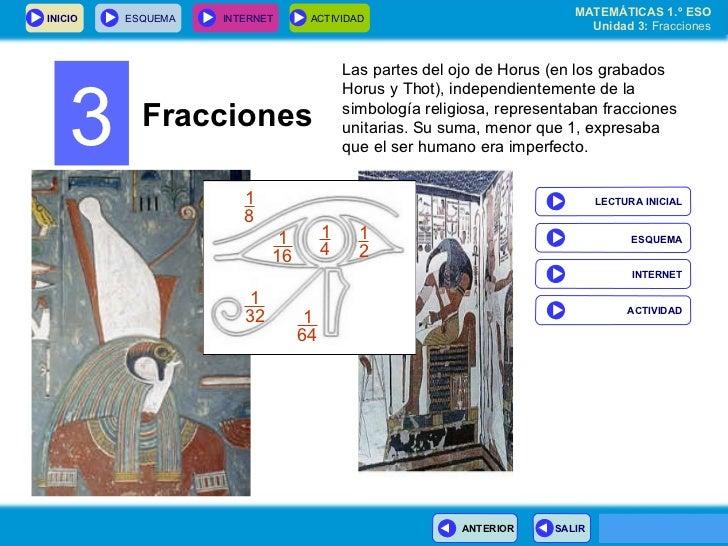 3 Fracciones Las partes del ojo de Horus (en los grabados Horus y Thot), independientemente de la simbología religiosa, re...