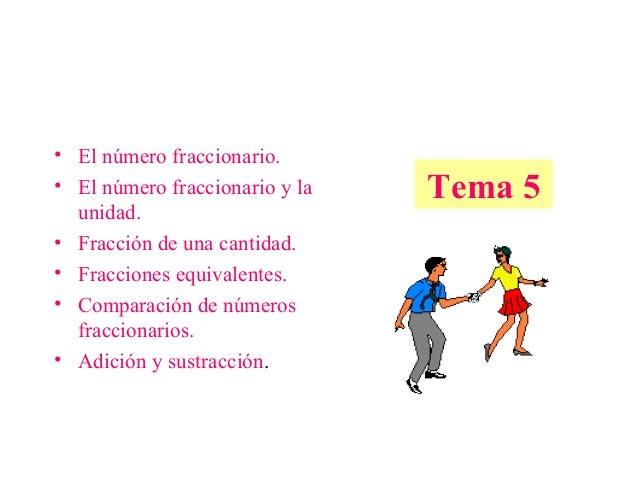 • El número fraccionario. • El número fraccionario y la unidad. • Fracción de una cantidad. • Fracciones equivalentes. • C...