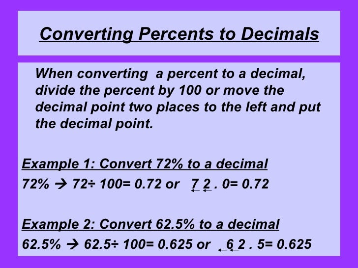 How To Turn Fraction Into Percent Converting Fractions