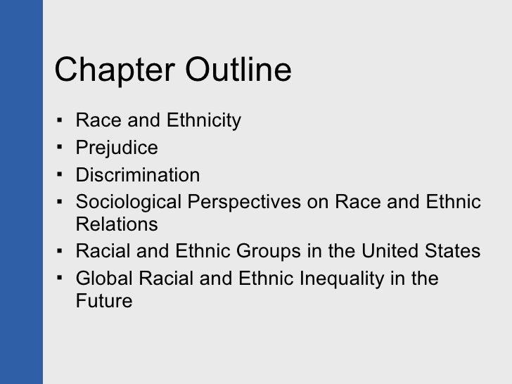 Chapter Outline <ul><li>Race and Ethnicity </li></ul><ul><li>Prejudice </li></ul><ul><li>Discrimination </li></ul><ul><li>...