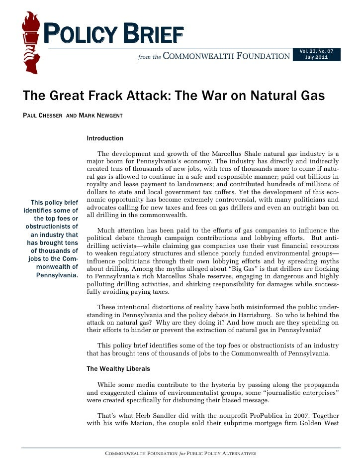 Commonwealth Foundation - The Great Frack Attack: The War on Natural Gas