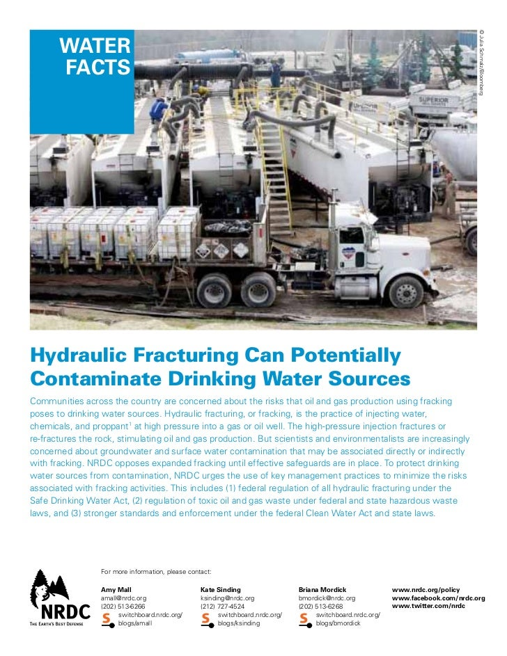 © Julia Schmalz/Bloomberg       Water       factsHydraulic Fracturing Can PotentiallyContaminate Drinking Water SourcesCom...