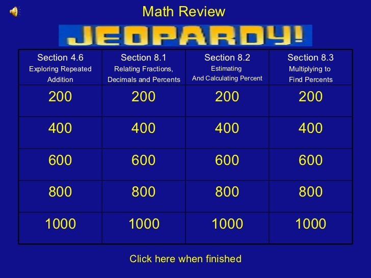 Fraction, Decimals and Percents - Math Review Jeopardy