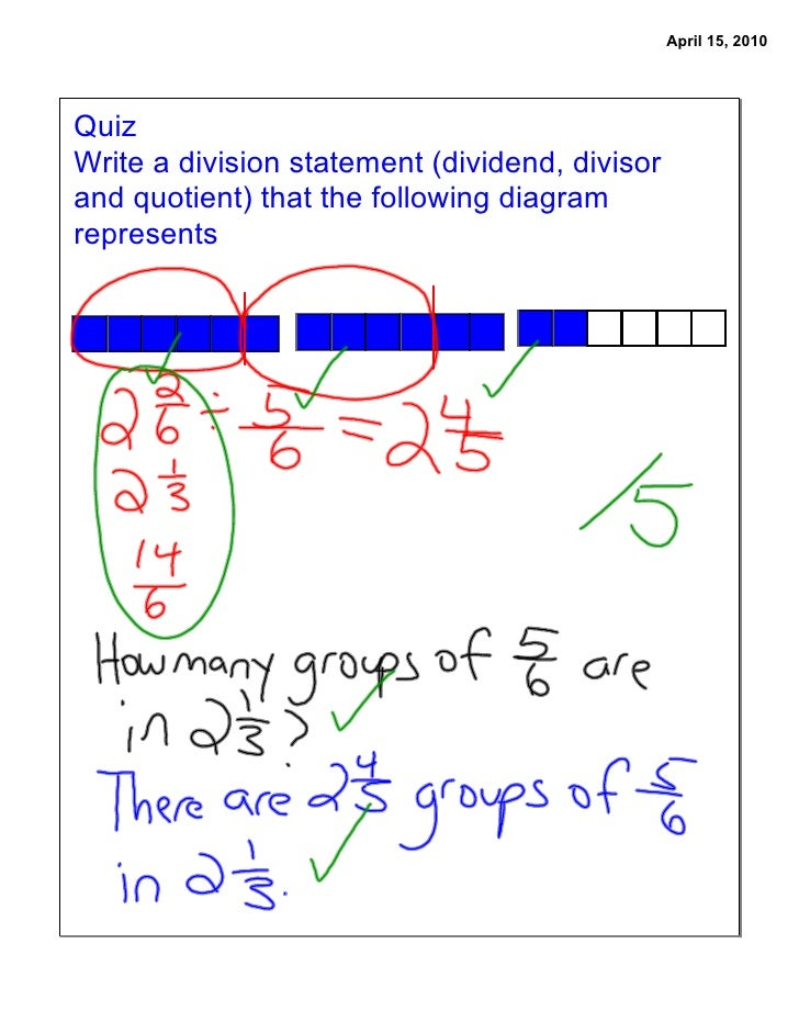 April 15, 2010     Quiz Write a division statement (dividend, divisor and quotient) that the following diagram represents