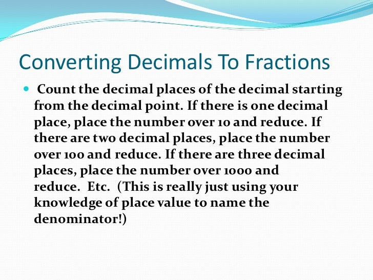 how to change a decimal into a fraction calculator
