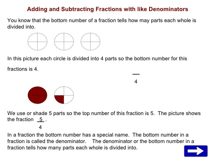 Adding and Subtracting Fractions with like Denominators You know that the bottom number of a fraction tells how may parts ...