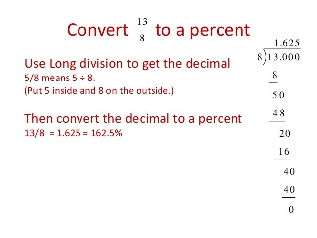 how to change a fraction to a percent and decimal