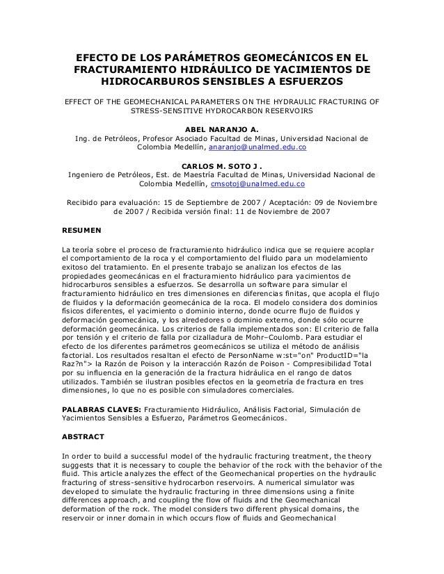 EFECTO DE LOS PARÁMETROS GEOMECÁNICOS EN EL FRACTURAMIENTO HIDRÁULICO DE YACIMIENTOS DE HIDROCARBUROS SENSIBLES A ESFUERZO...