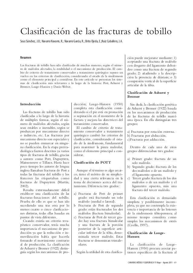 Clasificación de las fracturas de tobilloSous Sánchez, J.O.; Navarro Navarro, R.; Navarro García, R.; Brito Ojeda, E.;Ruiz...