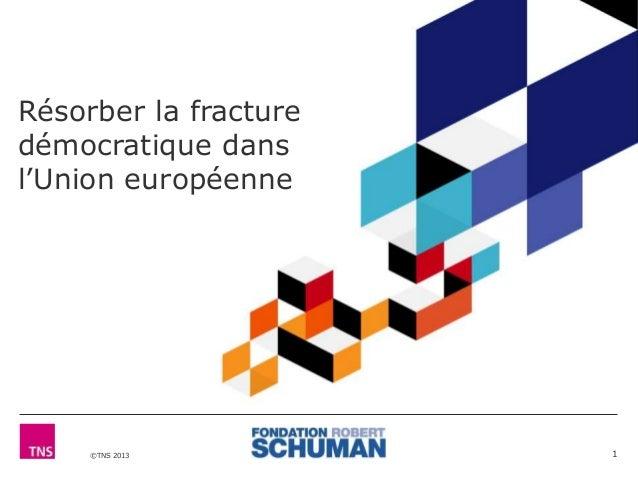 Résorber la fracture  démocratique dans  l'Union européenne  ©TNS 2013  1