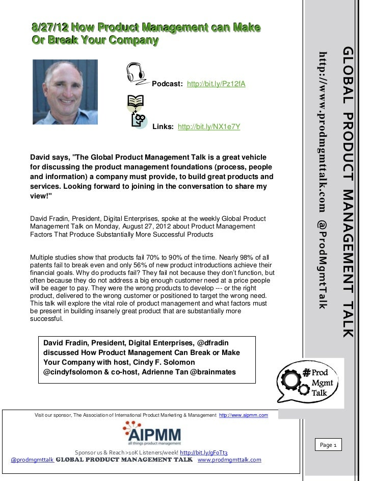 8//27//12 How Product Management can Make      8 27 12 How Product Management can Make      Or Break Your Company      Or ...