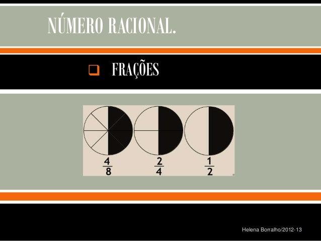 NÚMERO RACIONAL.       FRAÇÕES                                       Helena Borralho/2012-13