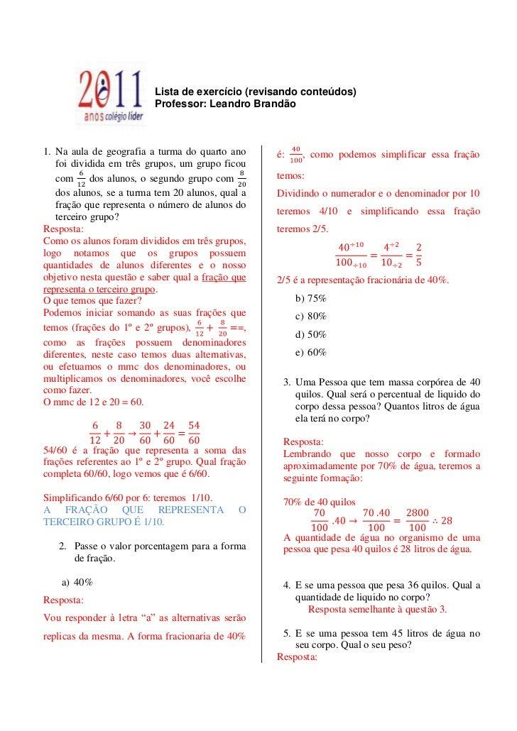 Frações e porcentagem (lista de exercício)