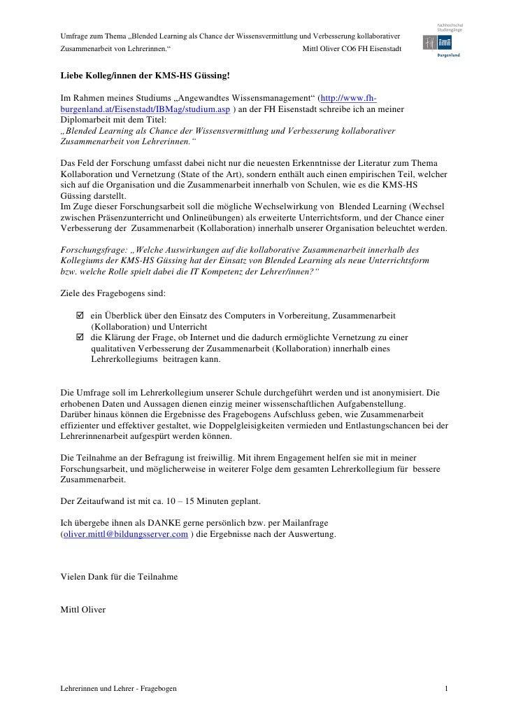 """Umfrage zum Thema """"Blended Learning als Chance der Wissensvermittlung und Verbesserung kollaborativerZusammenarbeit von Le..."""