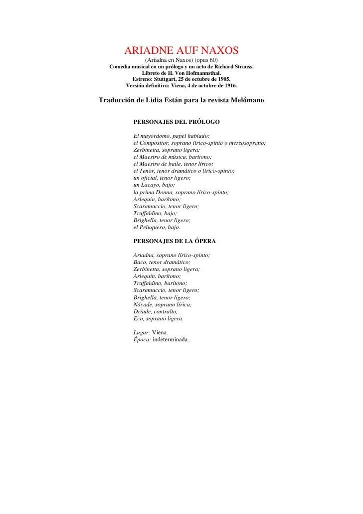 ARIADNE AUF NAXOS                  (Ariadna en Naxos) (opus 60)    Comedia musical en un prólogo y un acto de Richard Stra...