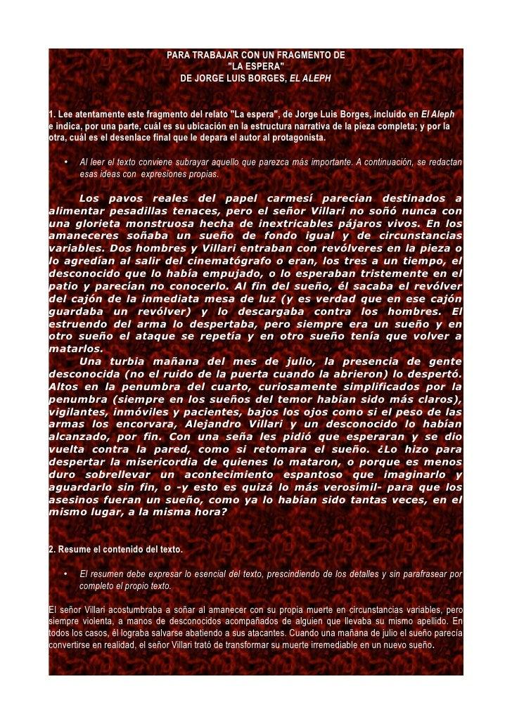 """Fragmento Comentado De """"La Espera"""", De JORGE LUIS BORGES"""