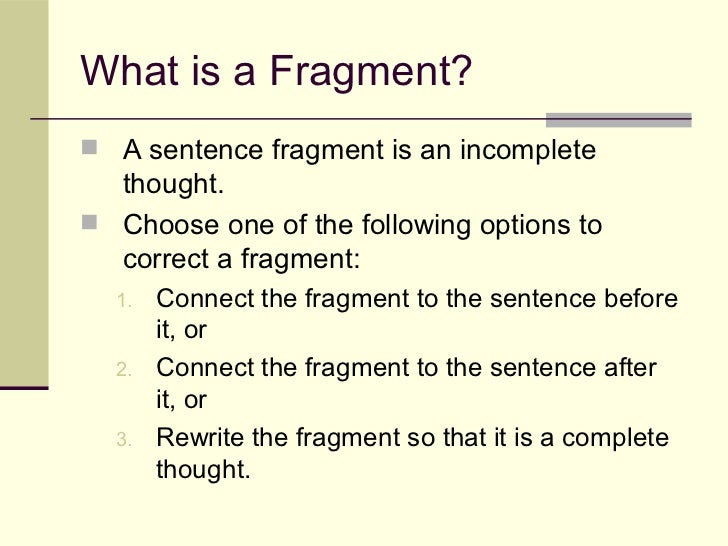 sentence fragment examples writing a check