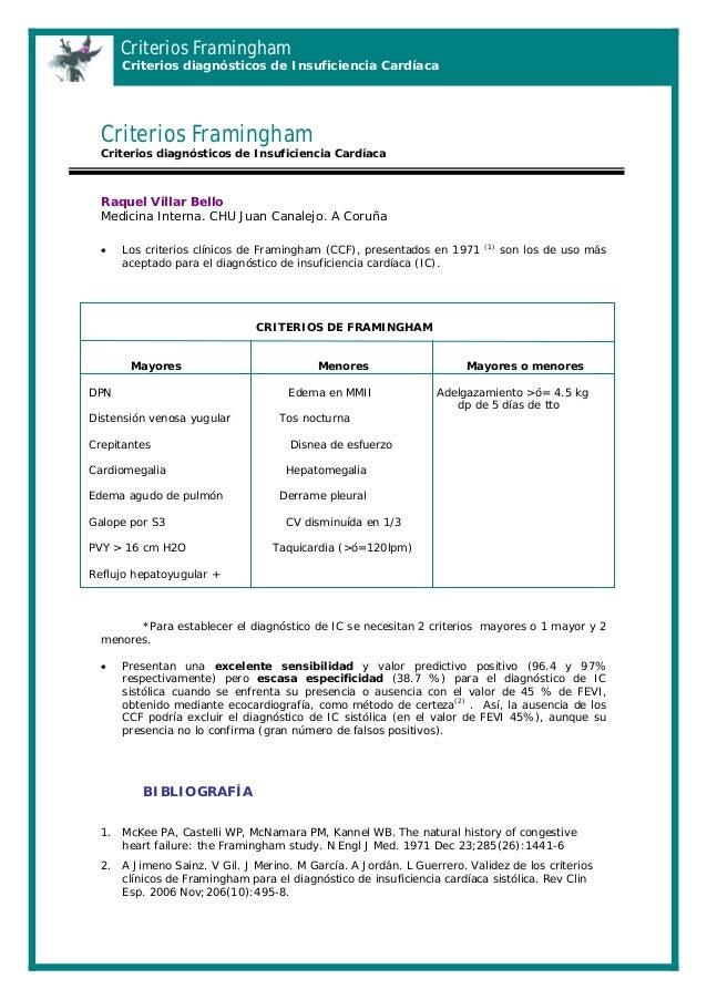 Criterios Framingham  Criterios diagnósticos de Insuficiencia Cardíaca  Criterios Framingham Criterios diagnósticos de Ins...