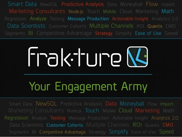Smart Data NewSQL Predictive Analysis Data Moneyball Flow ImportMarketing Consultants Node.js Touch Mobile Cloud Marketing...