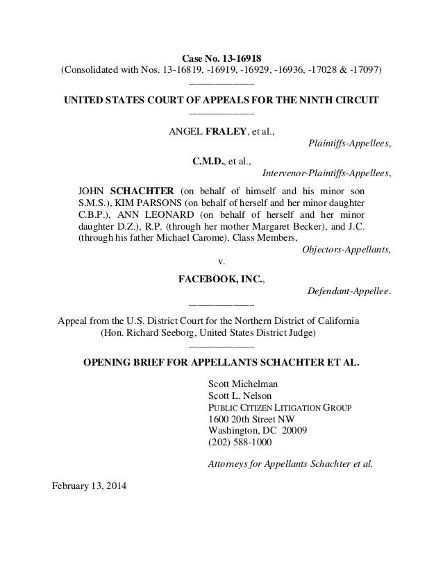 Fraley v-facebook-appellants-opening-brief