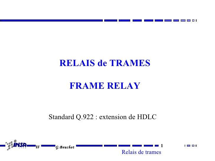 RELAIS de TRAMES             FRAME RELAY     Standard Q.922 : extension de HDLCIF     G.Beuchot                           ...