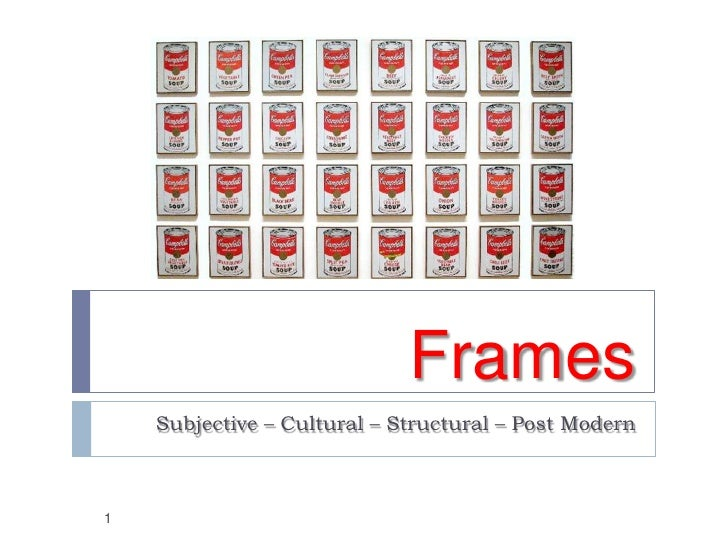 Frames    Subjective – Cultural – Structural – Post Modern1