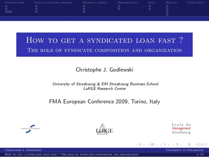 Introduction       Loan syndication process       Empirical design      Methodology      Data   Results      Conclusion   ...