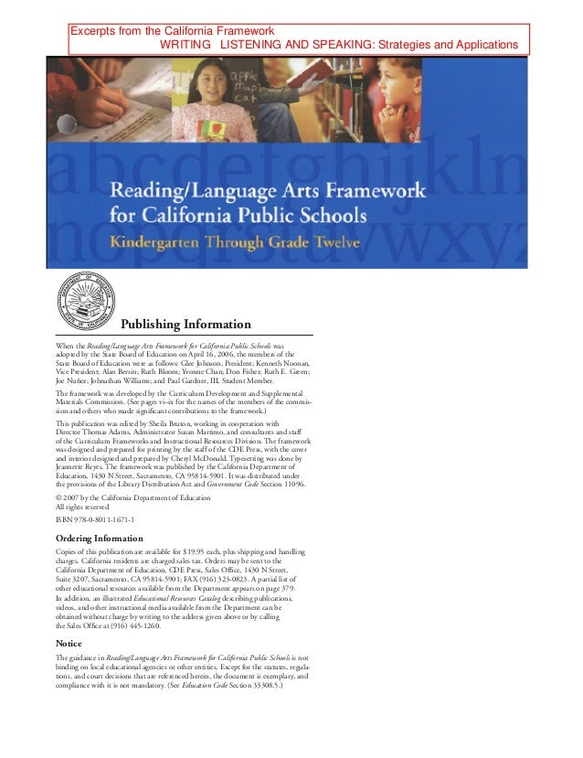ii  PublishingInformation  When the Reading/Language Arts Framework for California Public Schools was adopted by the Sta...