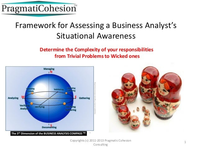 Framework for Assessing a Business Analyst's Situational Awareness Copyrights (c) 2011-2013 Pragmatic Cohesion Consulting ...