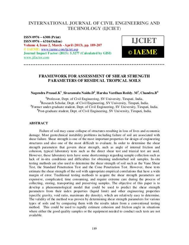 Framework for assessment of shear strength parameters of