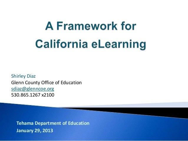 Framework for e learning tehama doe