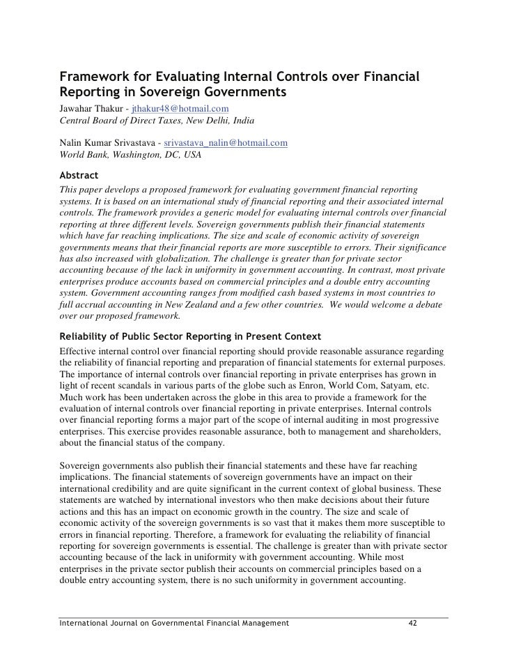 Framework For Evaluating Internal Controls Over Financial Reporting In Sovereign Governments