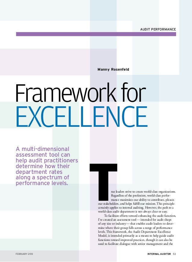 audit performance                           Manny RosenfeldFramework forExcellenceA multi-dimensional                     ...
