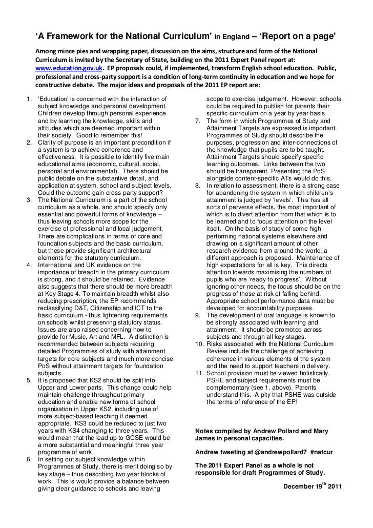 Framework for national curriculum report on a page