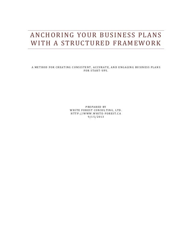 ANCHORING YOUR BUSINESS PLANS WITH A STRUCTURED FRAMEWORK A METHOD FOR CREATING CONSISTENT, ACCURATE, AND ENGAGING BUSINES...