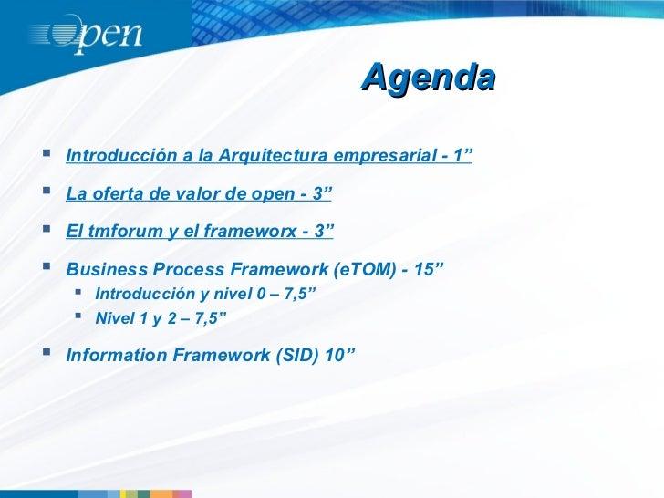 """Agenda   Introducción a la Arquitectura empresarial - 1""""   La oferta de valor de open - 3""""   El tmforum y el frameworx ..."""