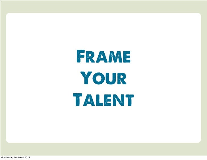 Service Design: Frame your talent - Ravensbourne