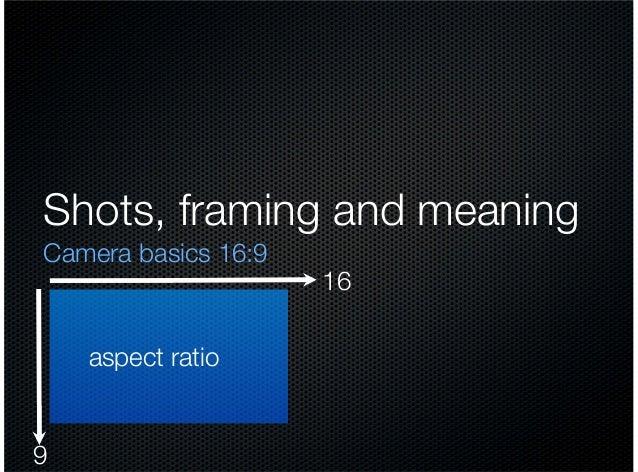 Shots, framing and meaning Camera basics 16:9  aspect ratio  9  16