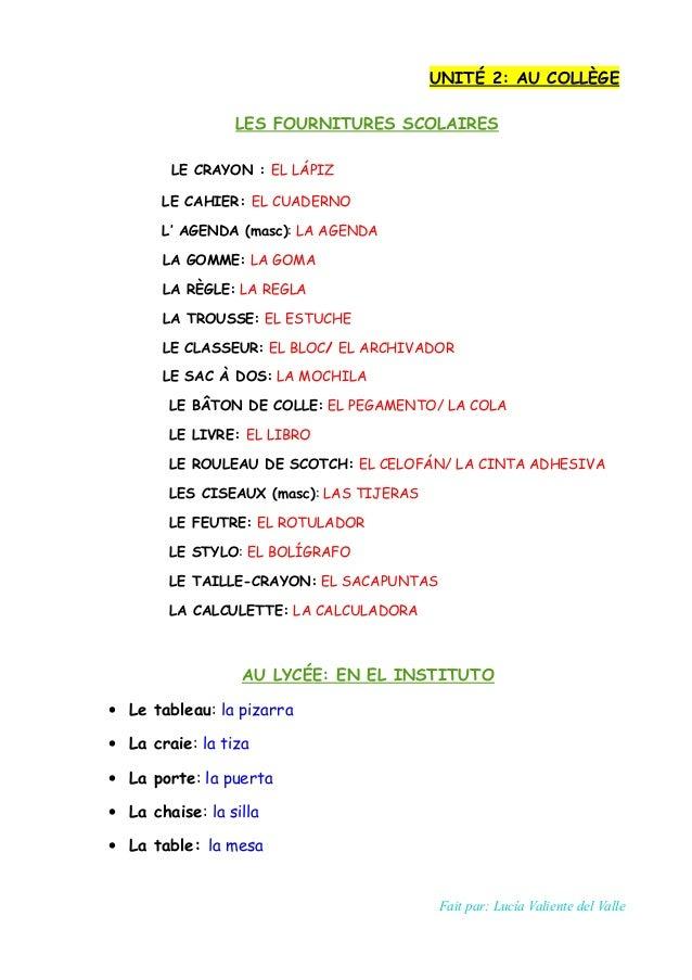 UNITÉ 2: AU COLLÈGE LES FOURNITURES SCOLAIRES LE CRAYON : EL LÁPIZ LE CAHIER: EL CUADERNO L' AGENDA (masc): LA AGENDA LA G...