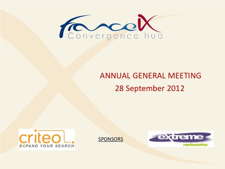 ANNUAL GENERAL MEETING   28 September 2012SPONSORS