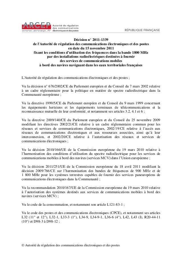 © Autorité de régulation des communications électroniques et des postes  Décision n° 2011-1339  de l'Autorité de régulatio...