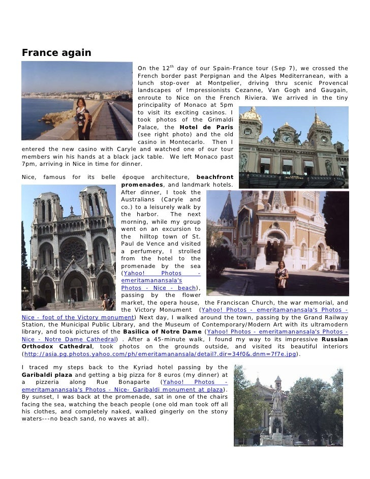 France again                                        On the 12th day of our Spain-France tour (Sep 7), we crossed the      ...