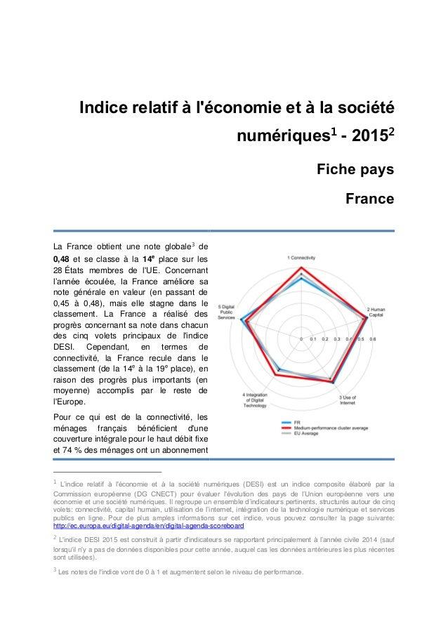 Indice relatif à l'économie et à la société numériques1 - 20152 Fiche pays France La France obtient une note globale3 de 0...